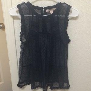Navy sleeveless mesh top